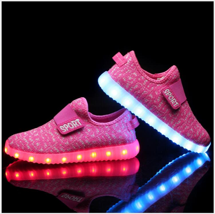 2016 Summer Children Shoes with Light 7 Colour LED USB Charging Kids Light Up Shoes Grey