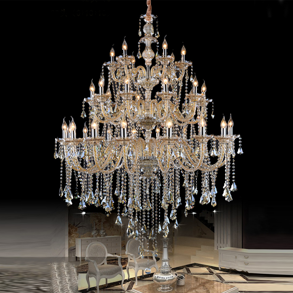 Crystal Chandeliers For A Luxury Hotel In Italy: Large Crystal Chandelier Hotel Project Assembly Hall