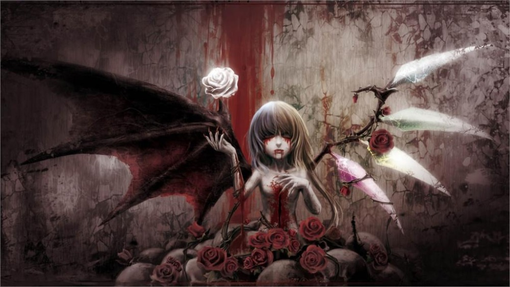 24X36 INCH / ART SILK POSTER / Gothic wings blood Home Decoration Canvas Poster Prints