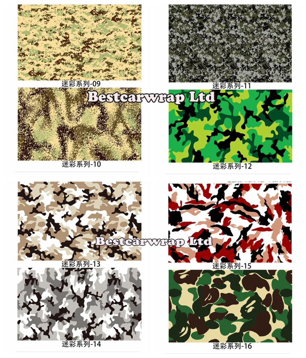Camo vinyl wrap black white green purple camouflage wraps 1