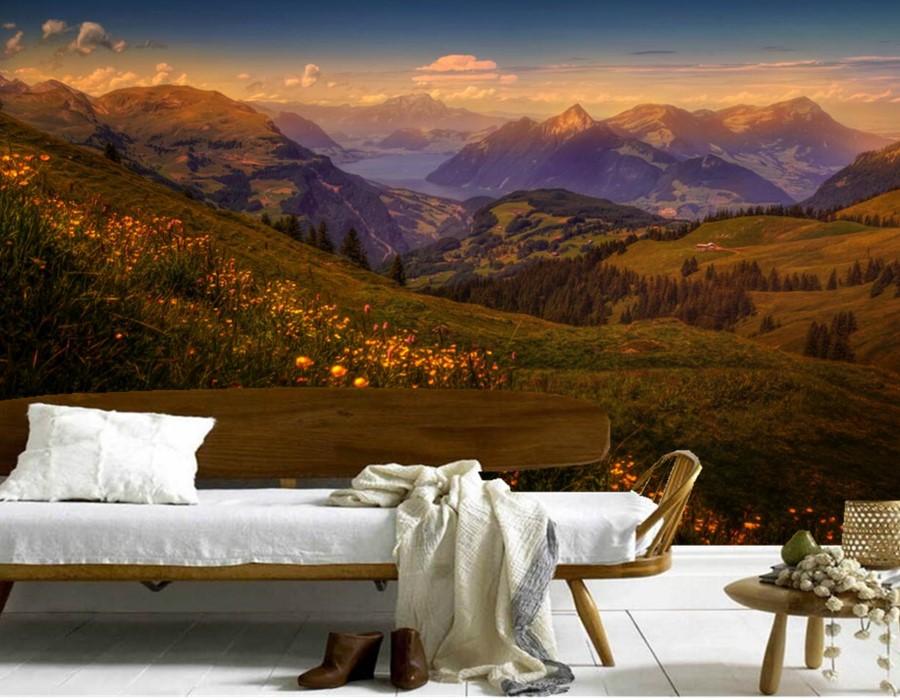 Custom 3d Nature Mural Wallpaper Nature Scenery For Walls: Custom Switzerland Scenery Mountains Rivers Nature