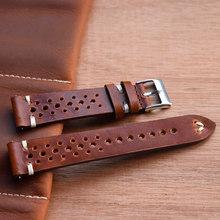 Винтажный кожаный ремешок ручной работы, ремешок для часов для мужчин и женщин, аксессуары для браслета, 18 мм, 20 мм, 22 мм, полый дизайн, ремешо...(Китай)