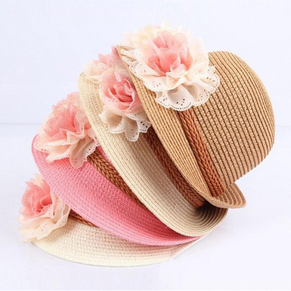 2016 New Summer Kids Floral Straw Hats Fedora Hat Children Visor Beach Sun Baby Girls Sunhat