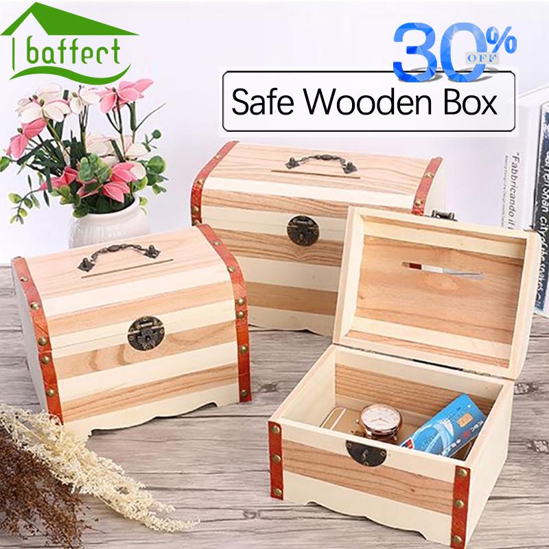 lettering wooden box with lock money storage case piggy bank jewelry organizer secret boite de. Black Bedroom Furniture Sets. Home Design Ideas