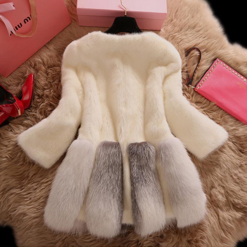Одежда лиса шубу импортные роскоши высокого класса реально кролика женский длинное пальто