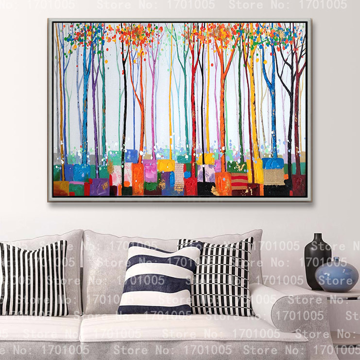 Free shipping modern oil painting home deco wall art hanging colorful tree flower picture living room Decorative canvas prints