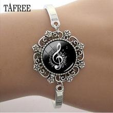 TAFREE DIY кружевной браслет с музыкальным символом, 15 мм стеклянный кабошон, музыкальный инструмент, цепочка с куполом, браслеты T462(Китай)