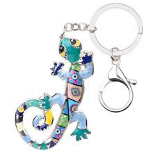 Брелок для ключей Bonsny из эмалированного сплава, Ящерица Геккон, кольцо для ключей с сумочкой, сумка для ключей, аксессуары, популярные новые ...(Китай)