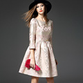 Summer Spring Autumn Jacquard Dress Women Cute A Line Dresses Vestido de festa Ladies Vintage Slash