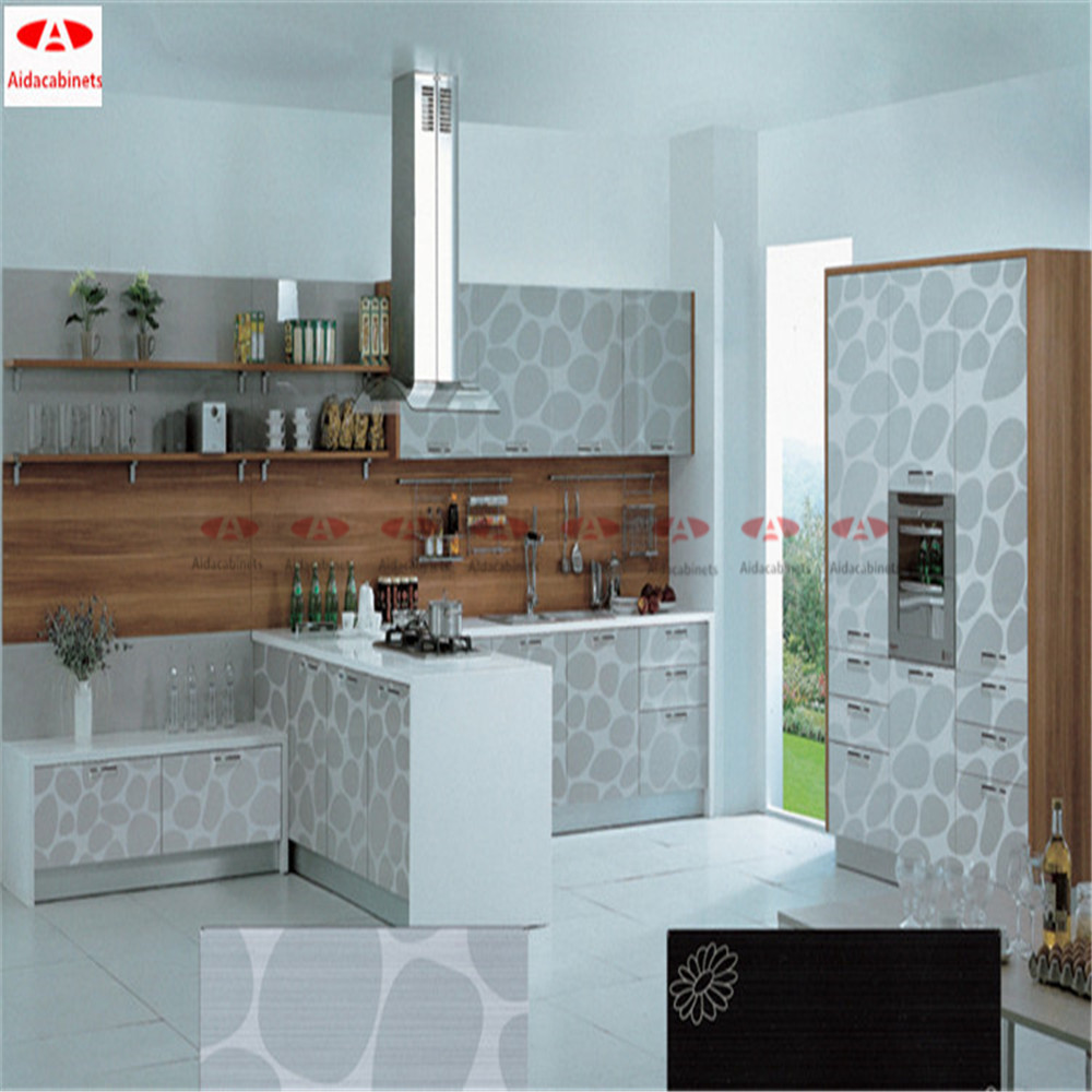 Free Standing Kitchen Cabinets With Glass Doors: Modern Mirror White Free Standing Stainless Steel Kitchen