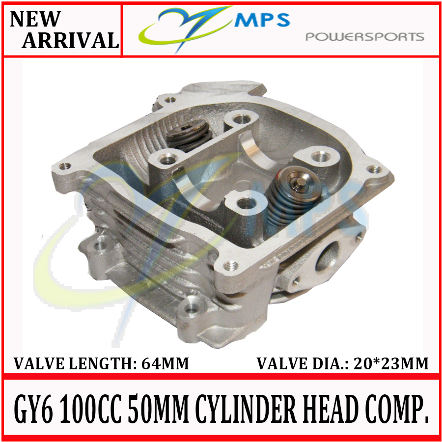 GY6 100cc 50mm cylinder head assy with 20*23*64mm valves installed