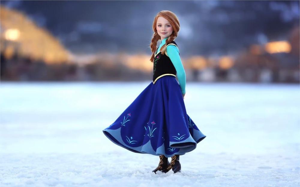24X36 INCH / ART SILK POSTER / little princess blue skirt dress snow winter Home Decoration Canvas Poster Print