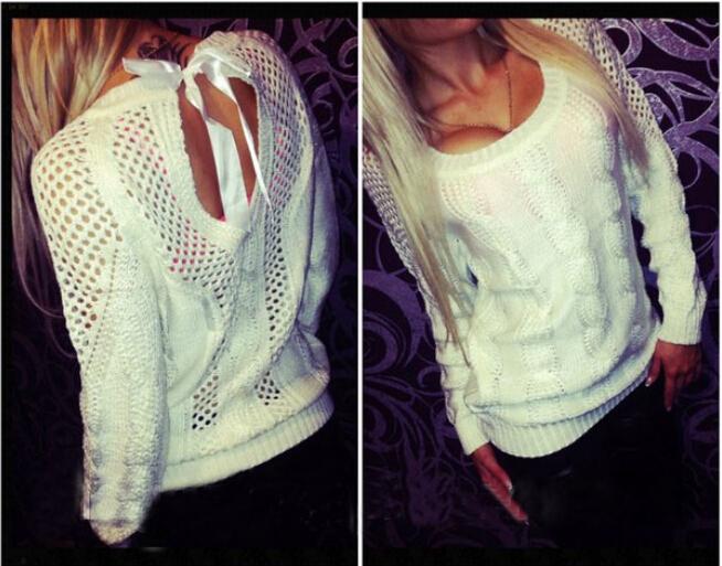 autumn winter 2015 ladies pierced lace back casual sweater women pullover S M L XL