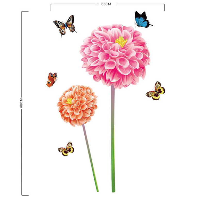 High Quality Fresh Nature  Flower Butterfly Wall Sticker Decal Romantic Art Home Decor 11.25