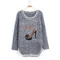 Faddish Cute Pattern Korean O Neck Long Sleeve Women Knitting Pullover Sweater 2016 New Autunm Knitted