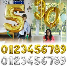 32 inches Gold Silver Number Foil Balloons Digit air Ballons Birthday font b Party b font