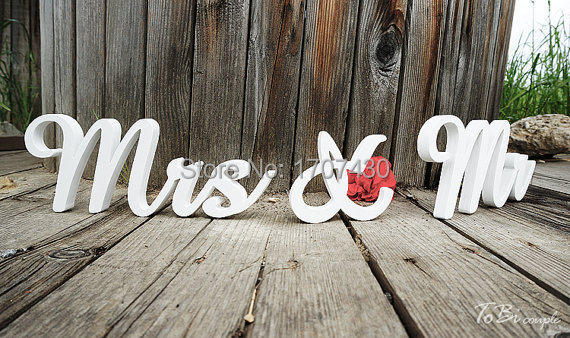 Mr And Mrs Large Wooden Letters: Wedding Sign Mr & Mrs Wooden Letters Table Decor Wedding
