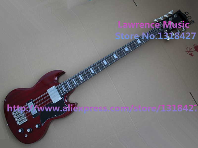 top quality dark red electric bass guitar 8 strings sg bass guitar body kits left handed. Black Bedroom Furniture Sets. Home Design Ideas
