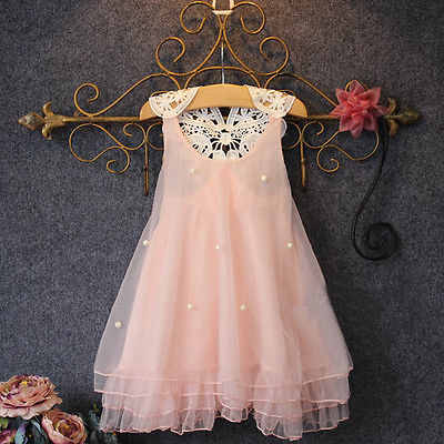 Chiffon Toddler Baby Girls Party font b Dress b font Pearl Lace Tulle Gown font b