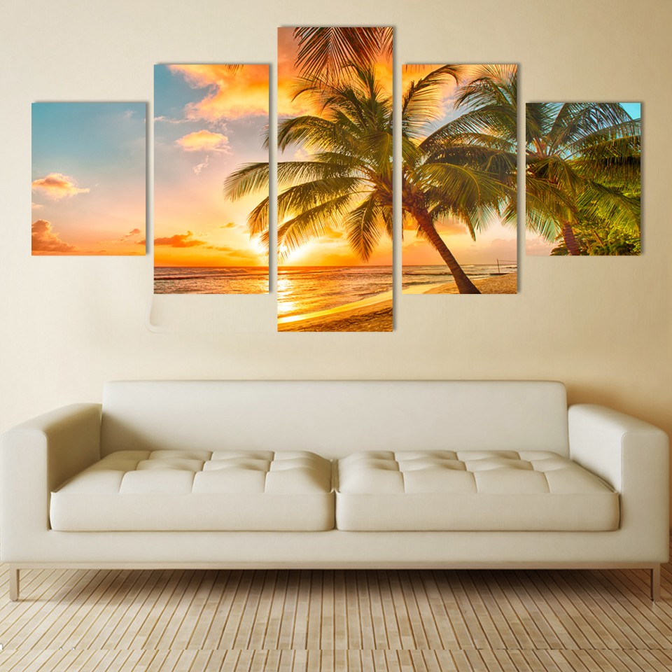 Modern wall art home decoration printed oil painting pictures no frame canvas prints 5 piece coconut palm beach scenery beach home decor olivia decor