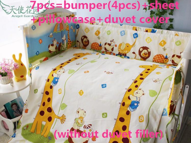 Discount 6 7pcs Crib Bedding Sets Crib Cot Cradle Bedlinen 100 Cotton for Infant Boy Gift