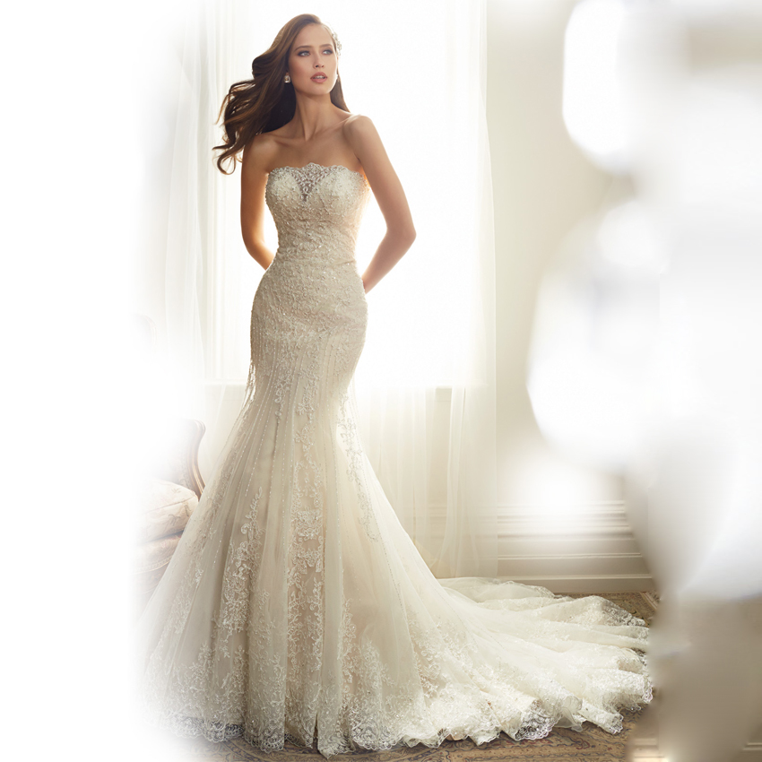 Strapless Mermaid Wedding Gown: Aliexpress.com : Buy W3017 Sexy Ivory Mermaid Lace Wedding