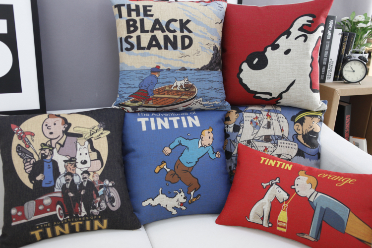 On sale European and American style Pillow vintage cartoon Cushions The Adventures of Tintin Cushion Cover free shipping