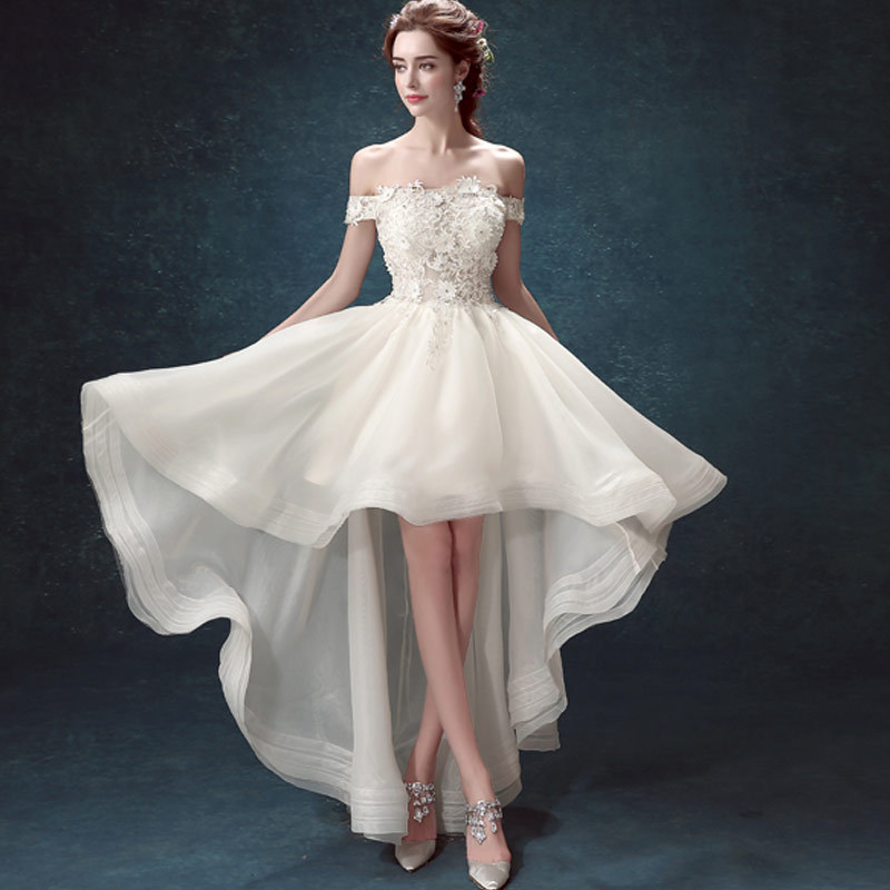 Elegant White Wedding Dresses Sexy Short Bridal Gowns Boat