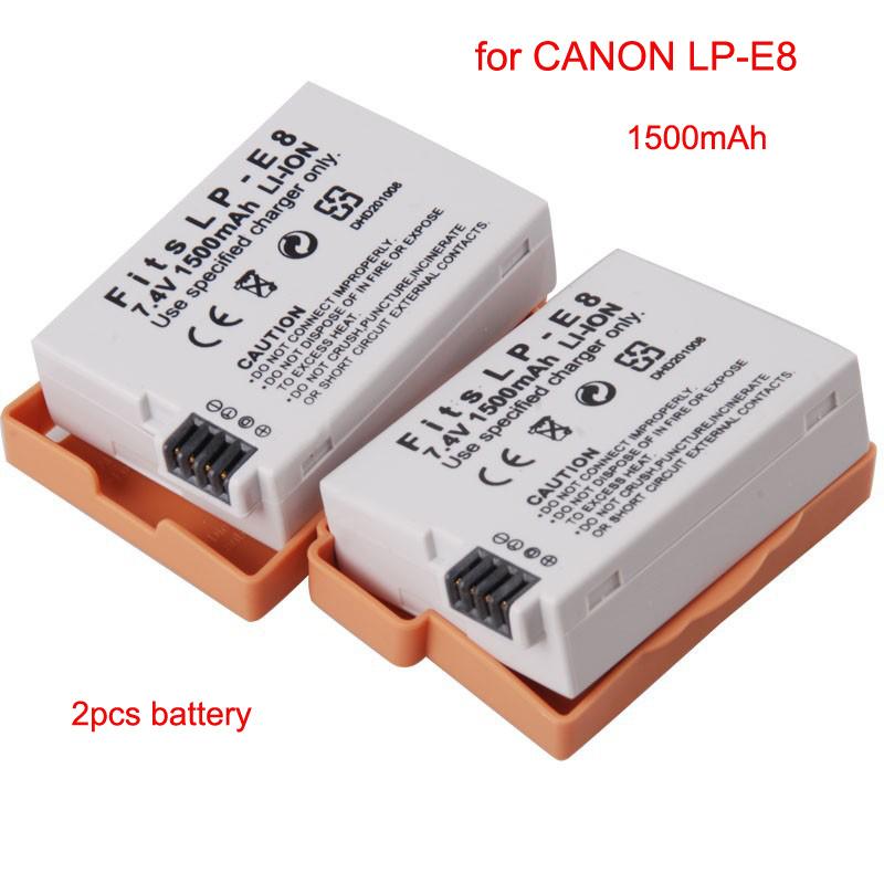 2pcs for canon 600d battery lp e8 lp e8 rechargeable battery li ion 1500mah for canon lp e8. Black Bedroom Furniture Sets. Home Design Ideas