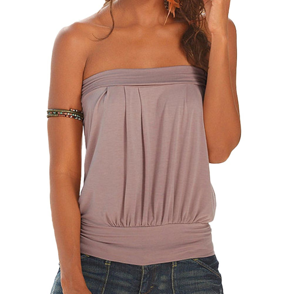 367e8dc7619a HOT Summer Beach T Shirt Women Off Shoulder T Shirt Plain Strapless ...