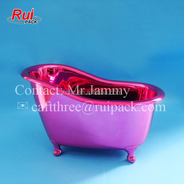 Plastic Bathtub Shape Container In Bath Room Rose Red
