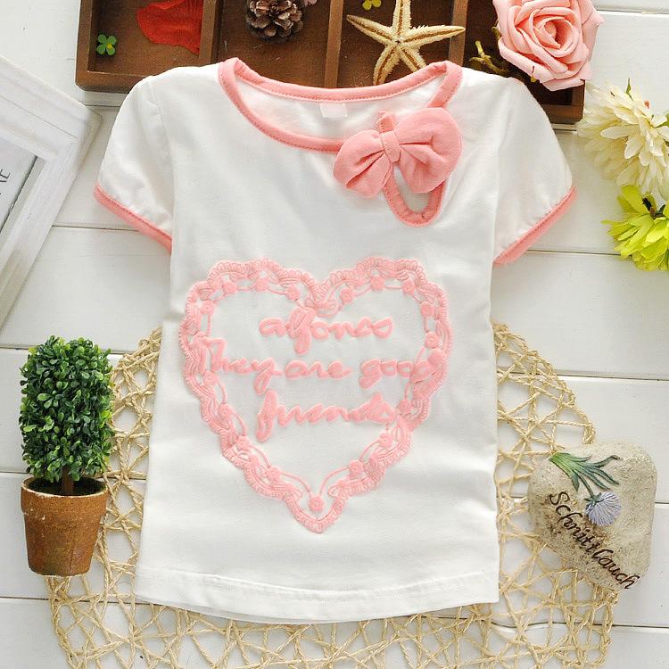 Белый цвет дети футболки девочки одежда тис девочка короткий рукав футболки хлопок дети для лето