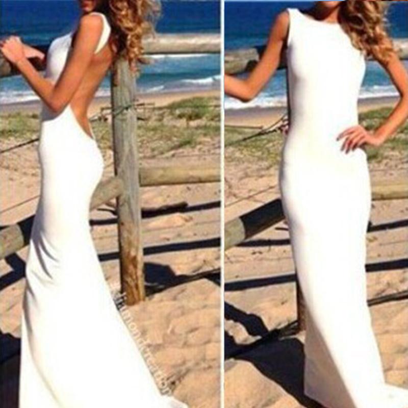 Платье хлопок, лето стиль женщины макси вечернее платья сексуальный с низким вырезом на спине без бретелек красный белый черный длинная Vestidos Y60 * E3344 # M5