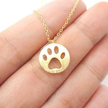 1pc Dog Paw Necklace Print Dye Cut Coin Shaped Animal Charm Pendant in Gold Long Necklace for women girls Nice Jewelry