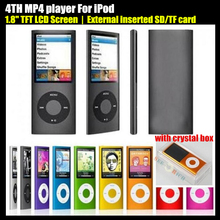 4TH 1.8″ LCD Screen MP3 MP4 player External inserted SD/TF Card,(no SD/TF Card),Video FM Radio Music Movie Player,+Crystal Box