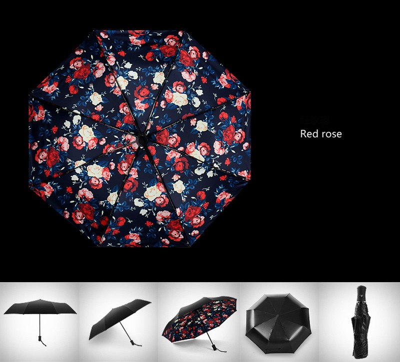 Fashion 3 Fold Automatic Women Umbrella Sun Rain Anti-UV Windproof Male  Umbrella Black Ultra-light Mini Umbrella Parasol - us105 79aee5670d0