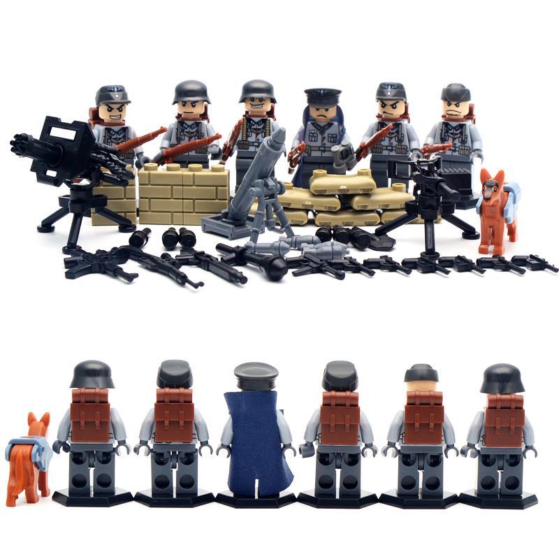 6 pcs lot SWAT World War II Troops military Kid Baby Toy Mini Figure Building Blocks