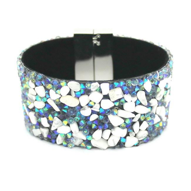 Кожа браслет браслеты манжетного типа, Натуральный камень женщины браслеты, Плетеная ткань ремень + магнитный застежка