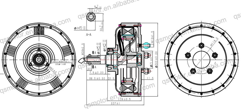 Qs 6000w 273 45h E Car Export V2 Type Hub Motor