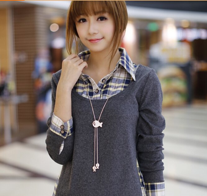 2015 סתיו חדש קוריאני נשים חולצת נשים מידות גדולות שווא שתי חתיכות של צמר גפן רשת רב sleeveed החולצה BL0090
