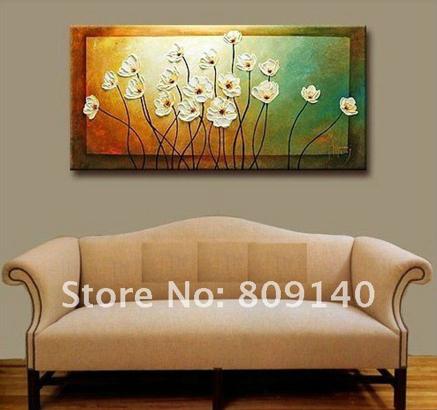 Flower thick oil painting canvas simple beautiful artwork for Hotel wall decor