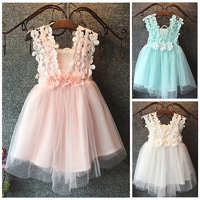 New XMAS Baby Girls Party Lace Tulle Flower Gown font b Fancy b font Dridesmaid font