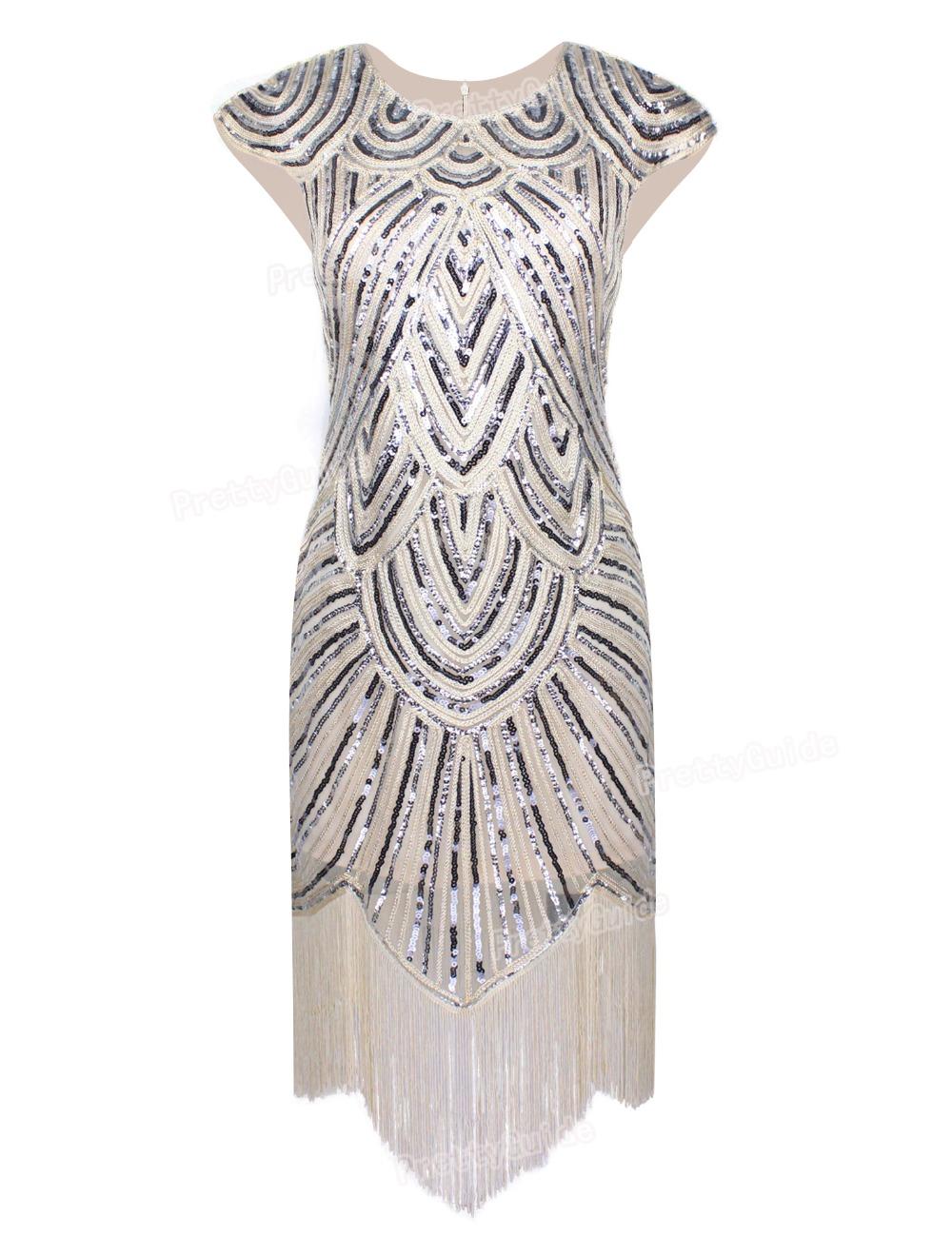 abb092bfef28 PrettyGuide Women 1920s Vintage Great Gatsby Art Deco Sequin Embellished  Fringed Hem Cocktail Flapper Dress