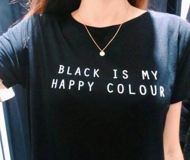 black is my happy color letter women men unisex black o neck cotton t shirts printing fashion. Black Bedroom Furniture Sets. Home Design Ideas