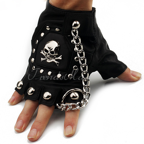 PU Leather Skull Punk Black DRIVING Motorcycle Biker ...