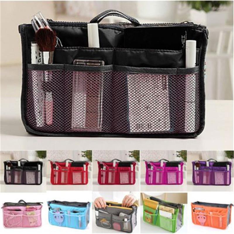 HOT 2016 Women Travel Insert Organizer Handbag Purse Large liner Lady Makeup Cosmetic Bag Travelling Bag