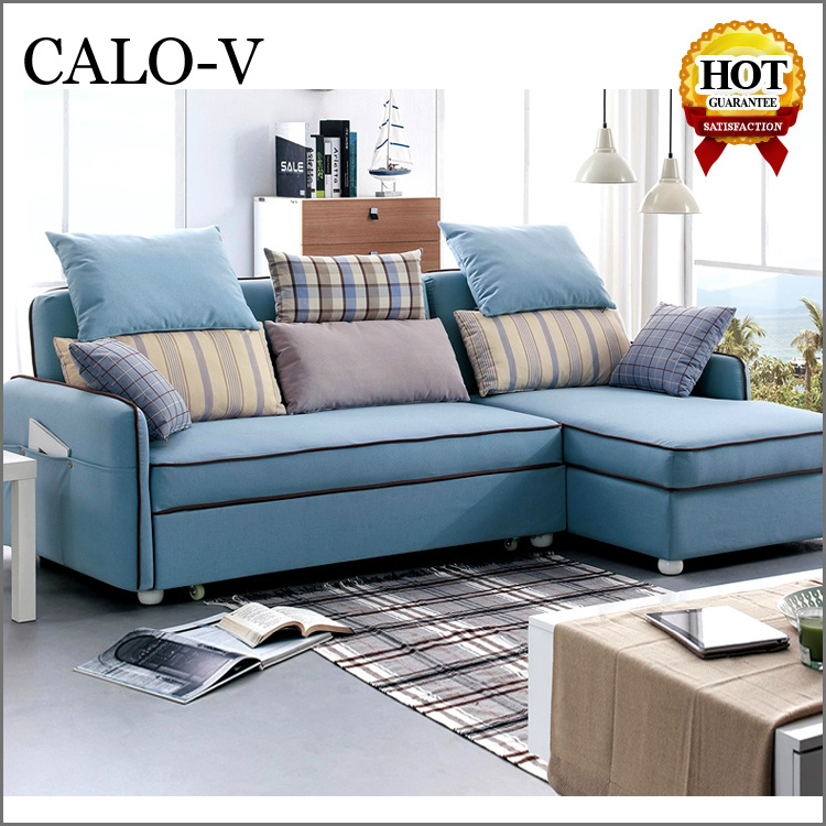 Quality Small Corner Fabric Sofa Bed With Chaise Lounge