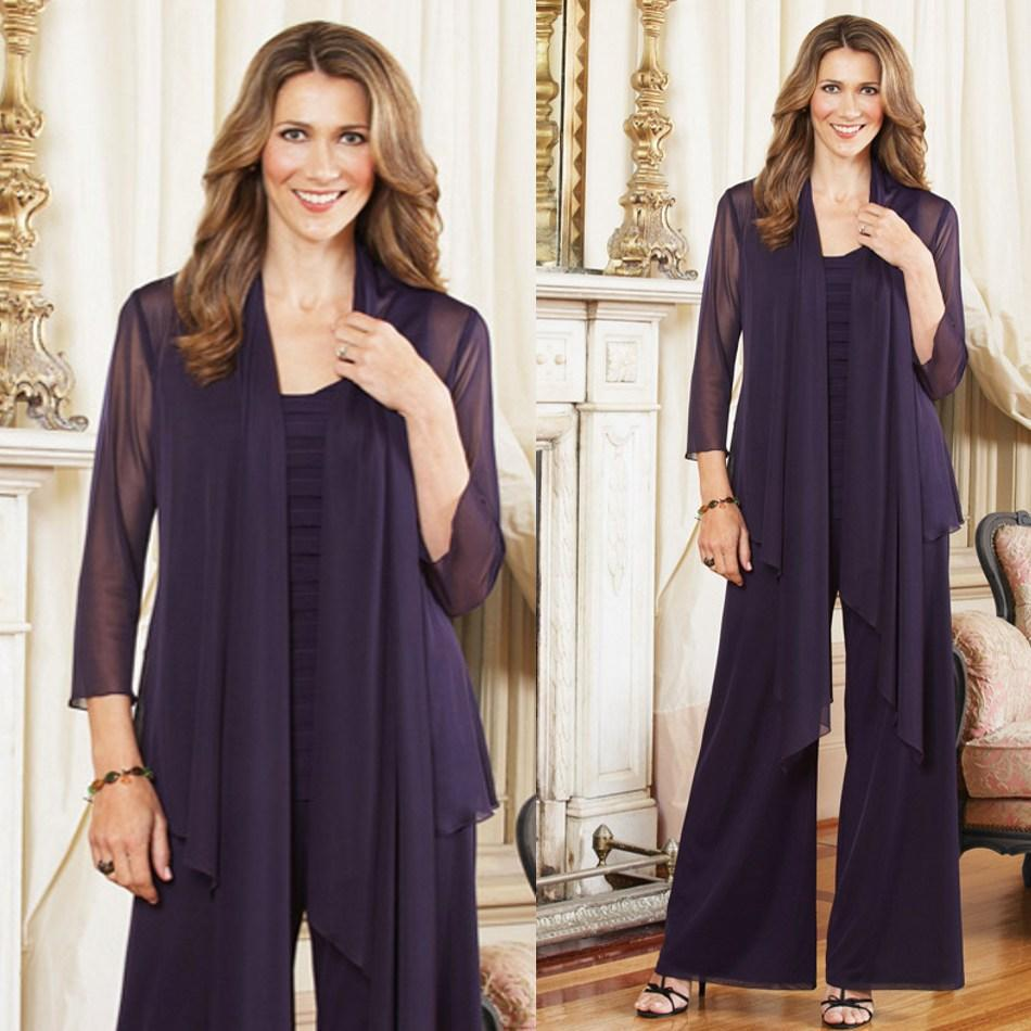 2016 Plus Size Mother Of The Bride Pant Suits With Jacket
