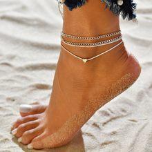 Женский пляжный ножной браслет Boho, 3 шт./лот, с кристаллами и блестками(Китай)