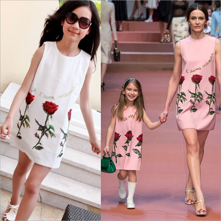 Family Matching Outfits mother daughter dresses Family Fitted baby dress women dress Family look Rose family